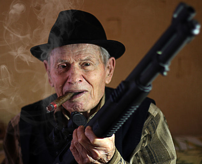 Grandpa Shotgun COSANOSTRA Mafia  Sigar Gangsta Second Acts Be. Ready. Love Yourself This Is Aging