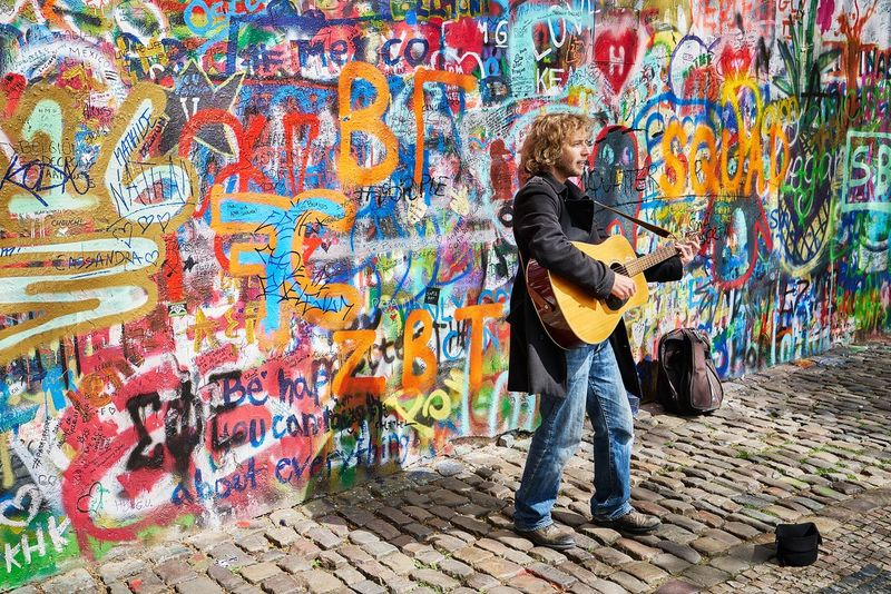 You may say I'm a dreamer Art Bright Busker Candid Candid Photography Colour Colours Creativity Day Europe Graffiti Lennon Lennon Wall Lifestyles Multi Colored Painting Prague Prague♡ Street Street Art Streetphotography Sunny The Week On EyeEm Travel Photography Wall - Building Feature