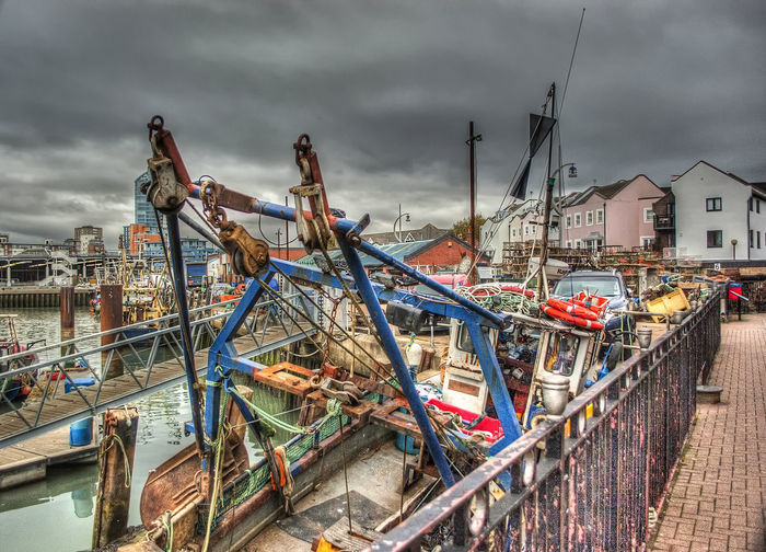 Fishing boat Fishing Boat #harbour Boats Sea Southsea Portsmouth Hampshire  England City Sky Architecture Built Structure