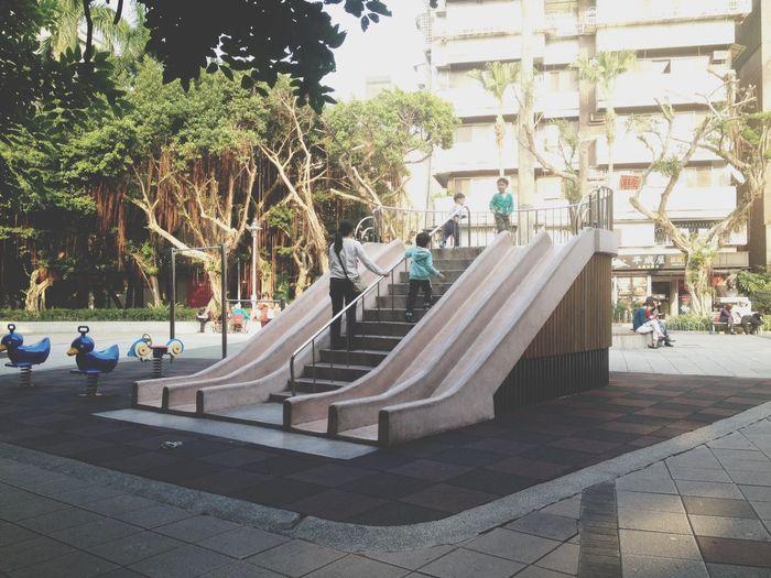 When I was a child. Afternoon Children Playground Family