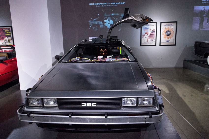 Los Angeles, CA, USA - March 4, 2017: Silver 1981 Delorean DMC-12 Time Machine from the movie Back to the Future courtesy Universal Studio Hollywood at the Petersen Automotive Museum in Los Angeles, California, United States. Editorial only. 1981 Antique Antique Car Back To The Future Classic Car Classic Cars Day Delorean Dmc-12 Indoors  Movie Prop No People Old Car Old Cars Petersen Automotive Museum Time Machine Transportation