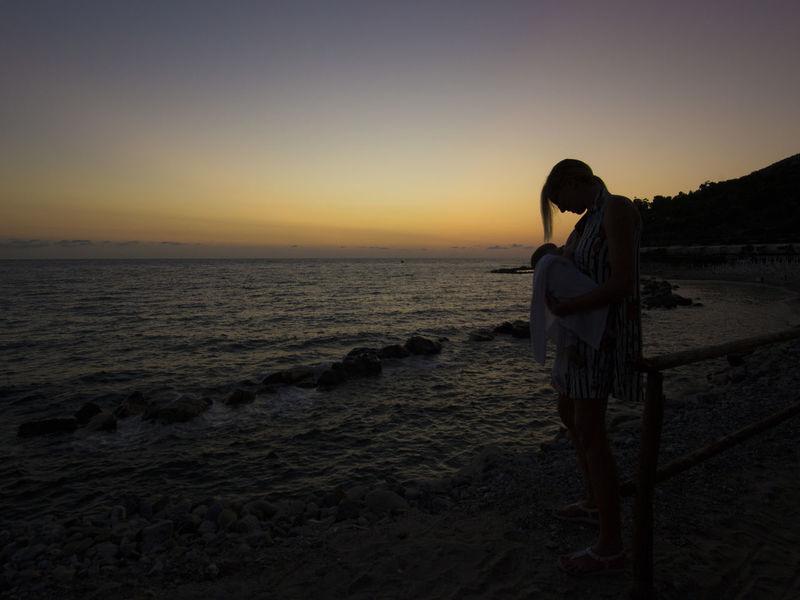 Mum & son Love Sea Sunset Sand Mum Son Love Summer Relax