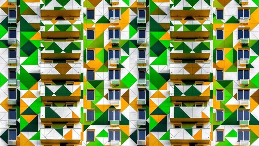 Full Frame Backgrounds Pattern No People Multi Colored Architecture Built Structure Wall - Building Feature Large Group Of Objects Design Abstract Abundance Outdoors Creativity Repetition Building Exterior Shape Day Yellow Close-up