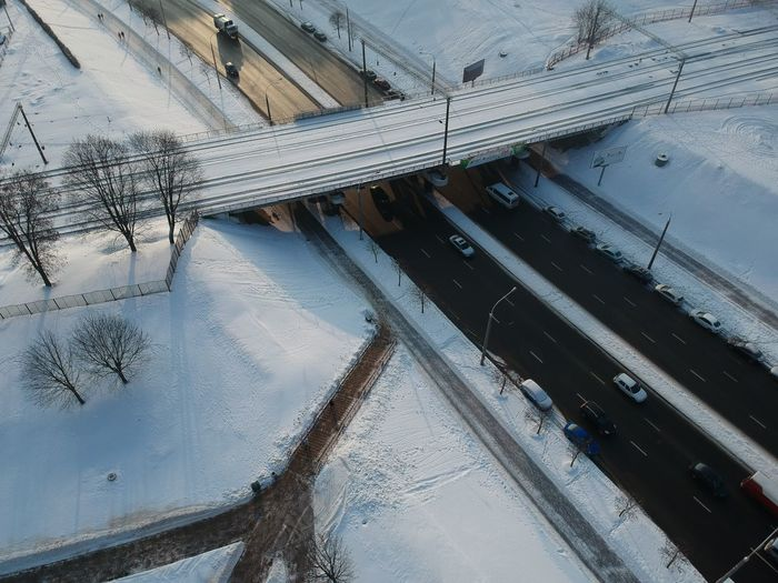Cold Temperature Winter Snow Transportation High Angle View Road Nature Built Structure Architecture Day Mode Of Transportation No People Outdoors Reflection Water City Frozen Street