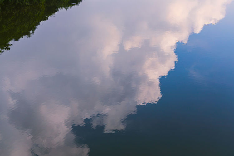 Reflections - Forest, clouds and blue skies Water Reflection No People Rippled Beauty In Nature Lake High Angle View Floating On Water Tranquil Scene Scenics - Nature Sky Cloud - Sky Clouds And Sky Water Reflections Tranquility Day Outdoors A New Perspective On Life