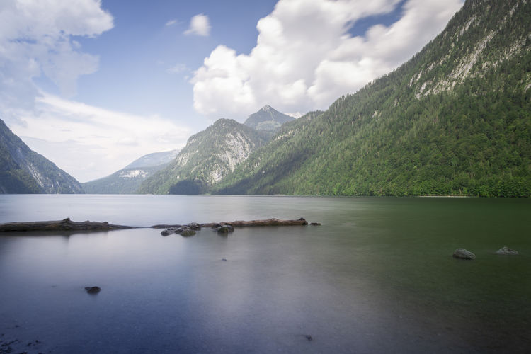 Beautiful view of nature and mountains near konigssee lake, bavaria, germany
