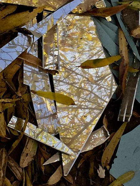 Broken Mirror No People Gold Colored Leaf Paper Hanging Indoors  Day