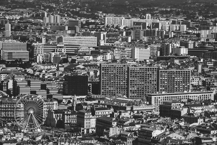 Panorama of Marseille, Provence, France Aerial View Architecture Black And White City City Life Cityscape Cityscapes Elevated View Famous Place Ferris Wheel France Horizon Over Land Human Settlement Landscape Marseille No People Office Building Panorama Provence Residential District Tourism Travel Travel Destinations Travel Photography Traveling