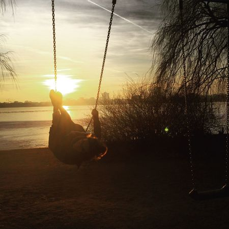 Photographic Memory Childhood Memory GoodTimes Swing Sundown Hamburg Alster Cold Days The Kid In All Of Us Memories Back In The Days Urbanphotography EyeEm Best Shots The Week On Eyem