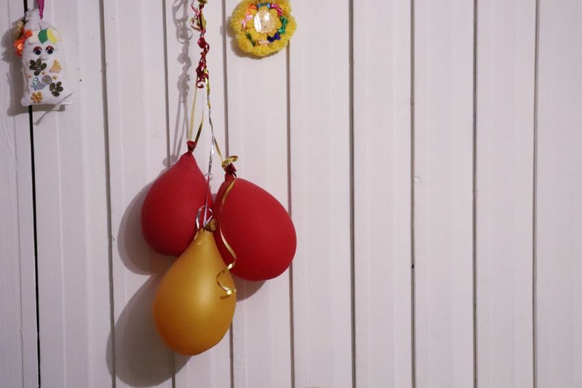 The Party is Over Canon Sl2 200D 1855mm Indoors  Background Balloons Yellow Wall Whight Red Hanging Red Celebration Wood - Material Close-up Bauble