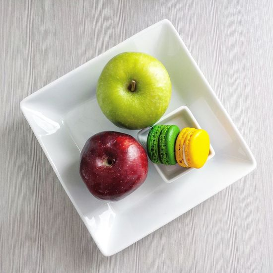 Fruit Apple - Fruit Healthy Eating Freshness Food Granny Smith Apple Food And Drink No People Kiwi - Fruit Indoors  Close-up Sour Taste Day Macaroons Macarons GreenApple Redapple Whiteplate Snacktime Snack