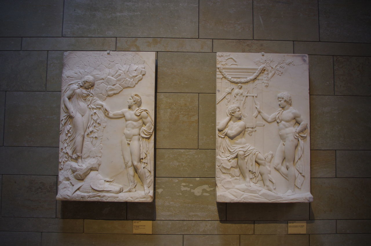 art and craft, creativity, human representation, male likeness, sculpture, statue, female likeness, history, no people, indoors, marble, day, bas relief, close-up, architecture, ancient civilization