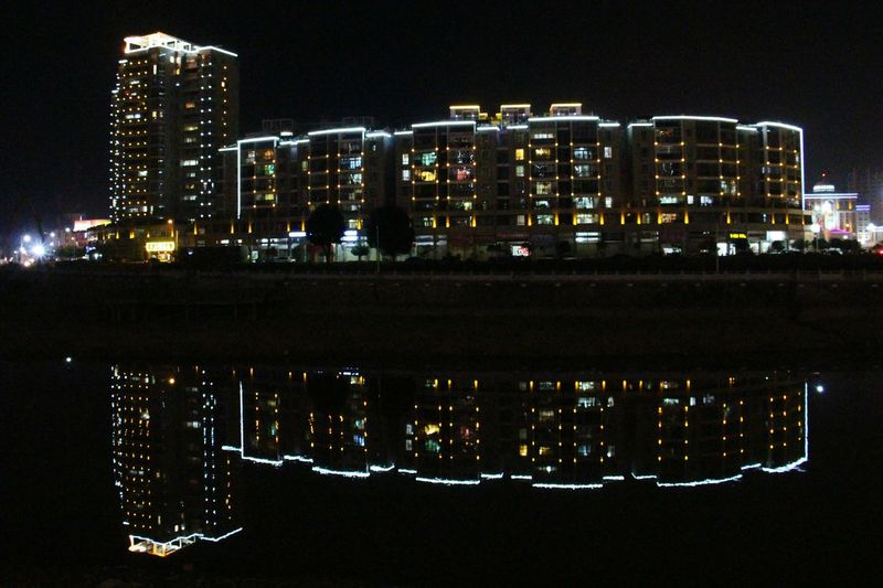 Reflection Night Illuminated Architecture Sky City Building Exterior Cityscape Urban Skyline No People Outdoors Modern Skyscraper Water Astronomy Ninghua Nightshot Nightlights Night View EyeEmNewHere