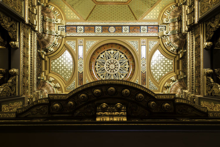 Directly below shot of ceiling in landmark theatre