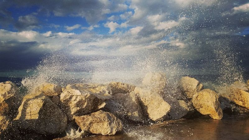 Water Splashing Cloud - Sky Power In Nature My Favourite Place Day Nature Corinth Greece Rear View Sea Life's Simple Pleasures... Be Brave