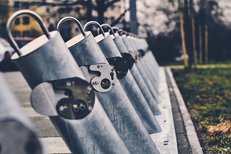Close-up of padlock outdoors