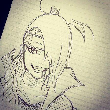 ボールペン一発落書き Anime Comic Naruto Shippuden  Deidara Illust 漫画 ナルト疾風伝 デイダラ 絵