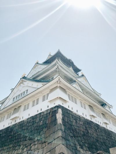 OSAKA Castle Sky Low Angle View Architecture Built Structure Building Exterior Day Nature No People Sunlight Travel Destinations Building Pattern Outdoors