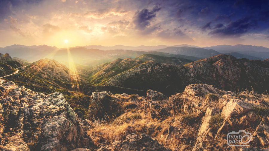 Sunlight Beauty In Nature Corsica Day Landscape Mountain Mountain Range Nature No People Outdoors Scenics Sky Sunlight Sunrise Sunset Tranquil Scene Tranquility