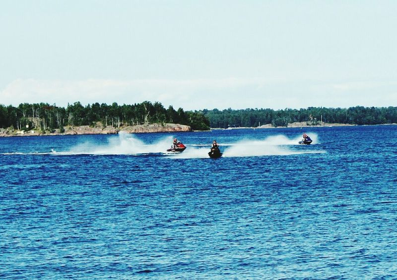 Jetskis Speed On The Sea Helsinki Suomenlinna Islands Summer Sunshine Relaxing Holiday Colour Of Life Spray Sea And Sky
