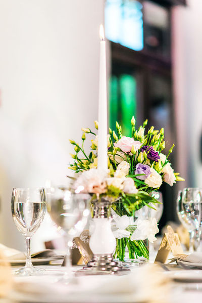 Wedding table decoration Banquet Glasses Holiday Matrimony Table Setting Tableware Wedding Wedding Reception Bouquet Of Flowers Bunch Of Flowers Catering Celebration Event Close-up Flower Indoors  Marriage  No People Nobody Party Restaurant Table Table Appointments Wedding Table Wineglass Wineglasses