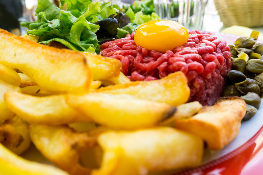Beef Close-up Day Egg Yolk Food Food And Drink Freshness Indoors  No People Raw Beef Ready-to-eat