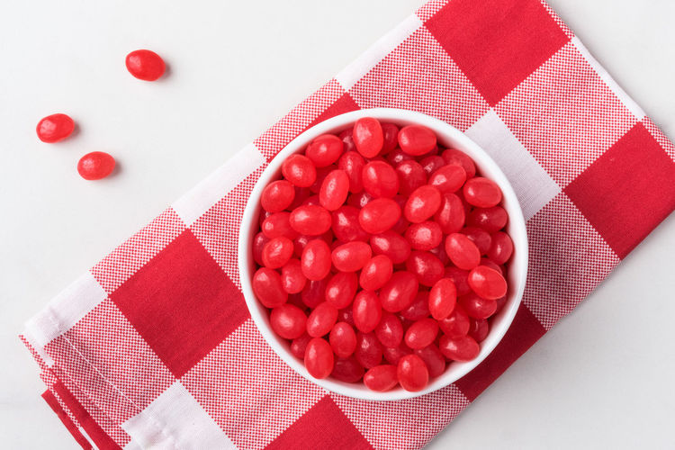 Red Jelly Beans Red Food Holiday Easter Easter Candy  Candy No People Close-up High Angle View Bowl Jelly Beans Red Jelly Beans Isolated Top Nobody