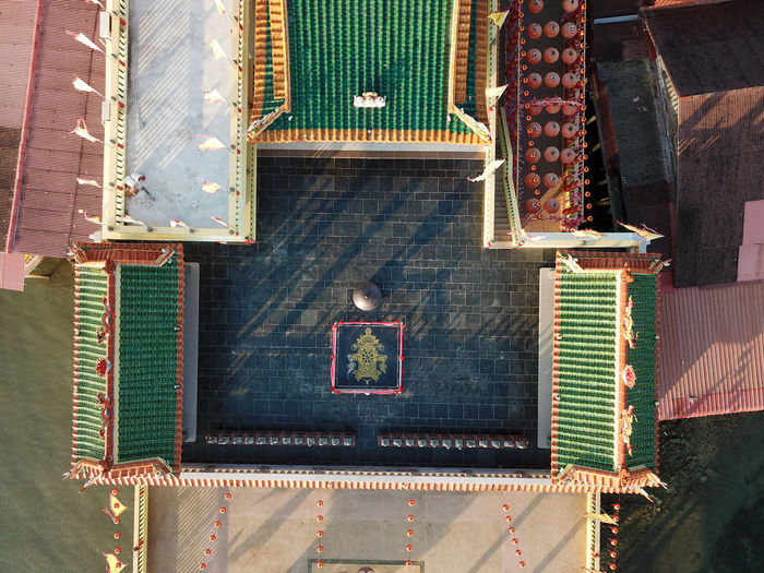 High angle view of roof of building