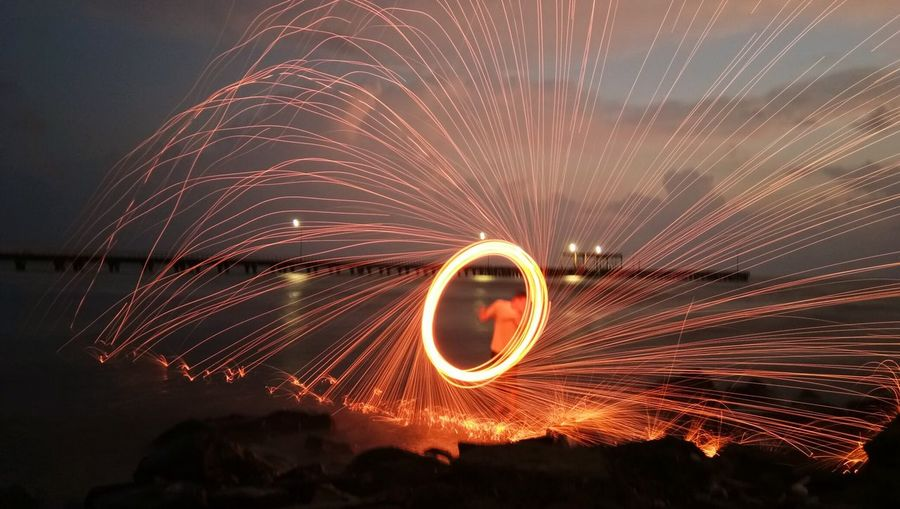 Lasso Long Exposure Night Spinning Motion Blurred Motion Wire Wool Arts Culture And Entertainment Light Trail Exploding Outdoors Illuminated Sky Fireball Nature EyeEmNewHere Inner Power Visual Creativity Going Remote The Creative - 2018 EyeEm Awards HUAWEI Photo Award: After Dark