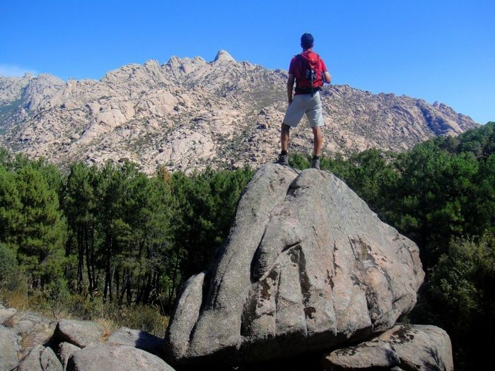 Full length of man standing on rock formation