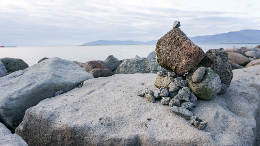 Found Object Harbour Hiking Iceland Nature Reykjavik Rock Art Balance Beach Beauty Day Mountains Nature No People Ocean Outdoors Readymade Rock - Object Rocks Sculpture Sea Sky Stones & Water Water