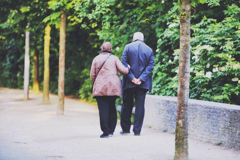 Full Length Rear View Of Couple Walking In Sidewalk By Trees