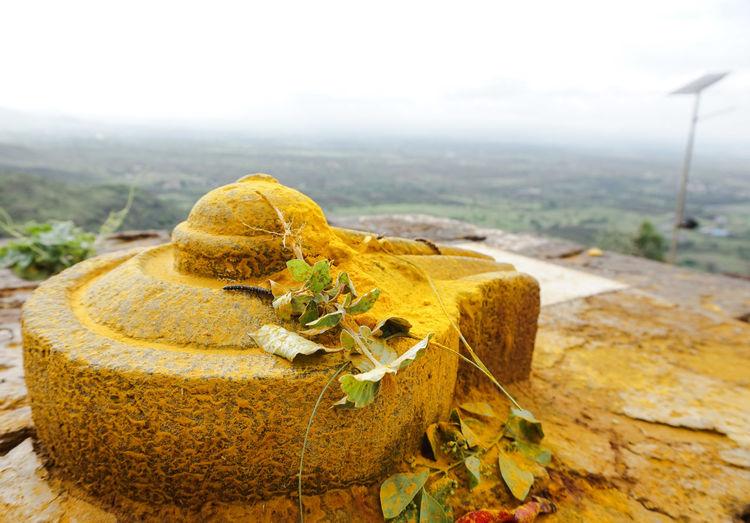 Lingam against landscape