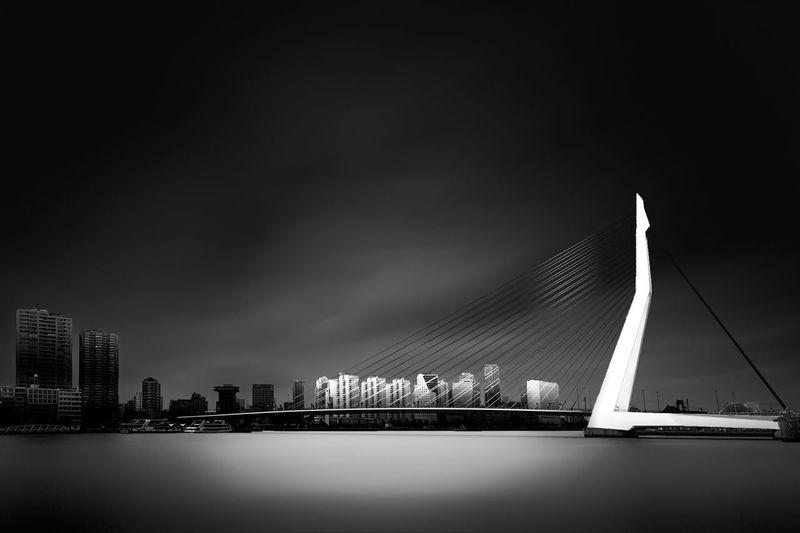 Erasmusbrug bridge over river in city at night