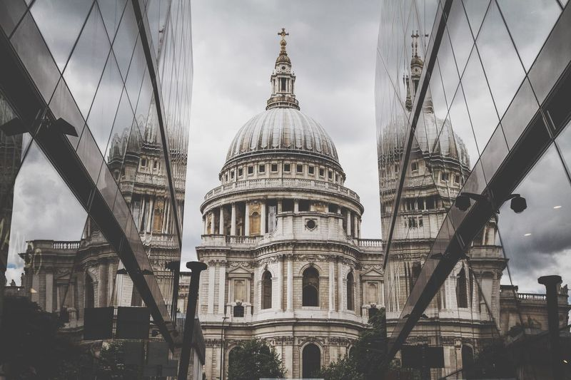 St Paul's Cathedral One New Change London LONDON❤ United Kingdom England Weather Grey Grey Sky Modern Cathedral Old Meets New Architecture Travel Destinations City Cloud - Sky Place Of Worship Reflection Reflections Dome