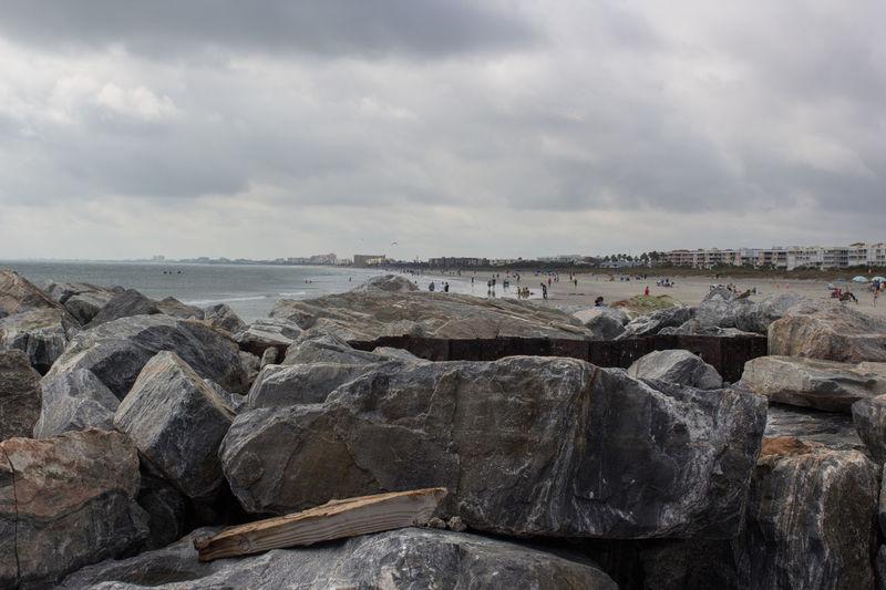 Rock & beach Beach Beach Photography Beauty In Nature Cloud - Sky Florida Life Jetty Park Outdoors Rock - Object Rock Jetty Sea