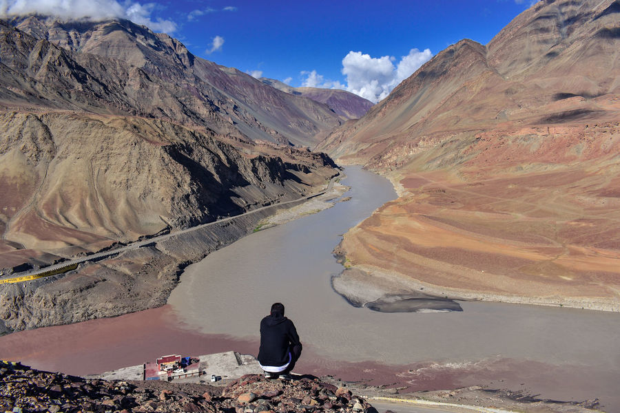 Mountain One Person Landscape Mountain Range Adults Only Adult Rock - Object Nature People Day Outdoors Physical Geography One Man Only Only Men Desert Scenics Hiking Full Length Sky Beauty In Nature EyeEm Selects Ladakh Ladakhdiaries Indus River Leh Ladakh Lost In The Landscape