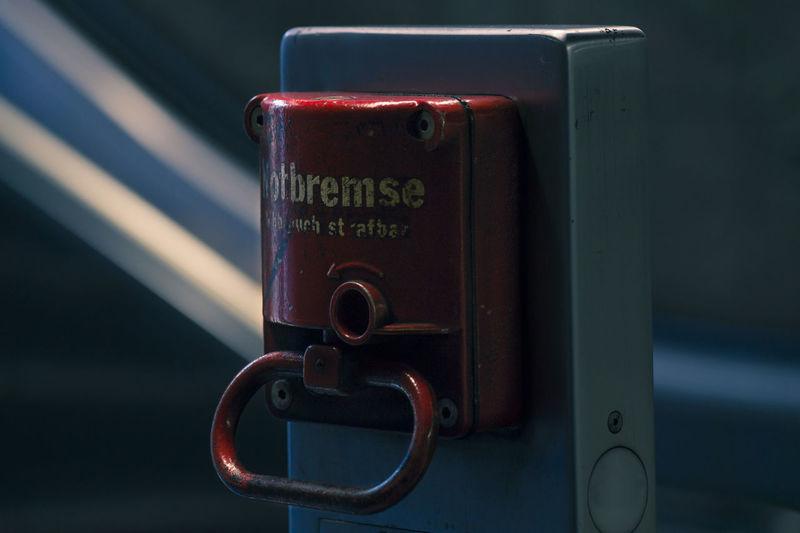 Close-up of emergency brake