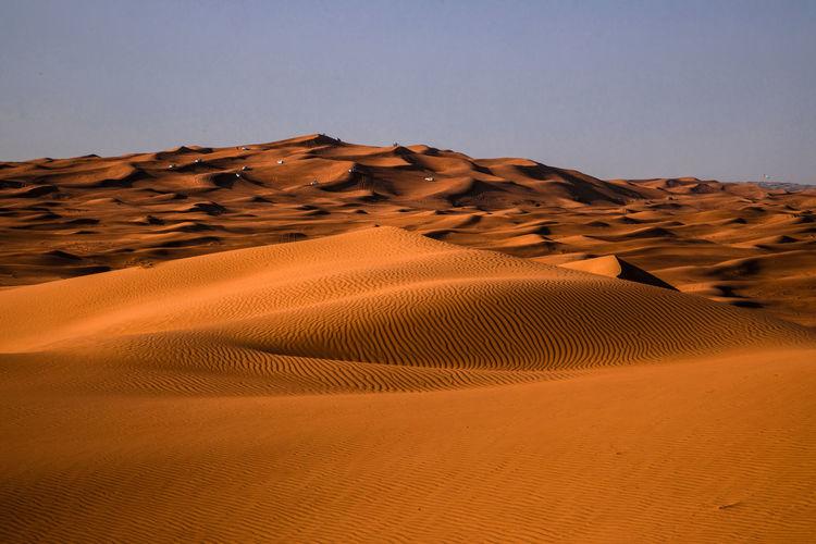 The jeep safari in the desert of dubai