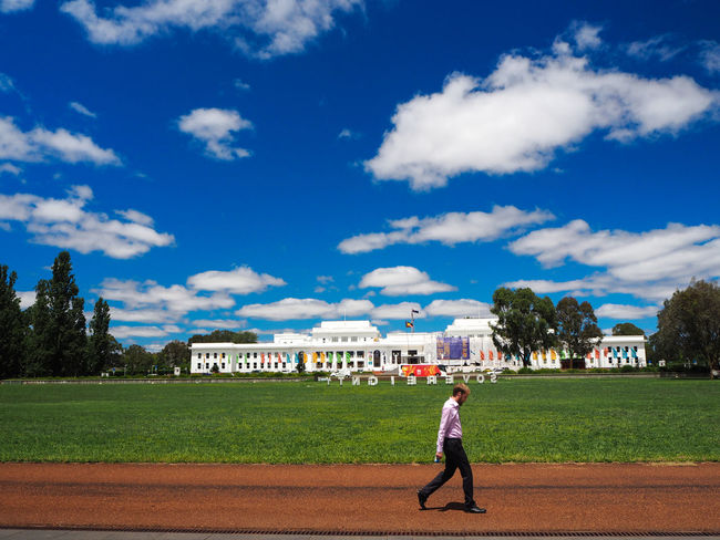 Sovereignty written with white letters on green grass - Bob Dylan might say: 'Gotta serve somebody' with the Old Parliament House in the background. I enjoyed my visit there. The way the political institutions are open to the public is great. Never give this up! Architecture Traveling Travel Business Businessman City City Life My Best Photo 2015 Coffee Break Democracy International Landmark People Watching Landmark Lunch Time! Men Parliament Parliament House Politics Showcase: December Streetphotography Sun_collection, Sky_collection, Cloudporn, Skyporn Unexpected Photos Of Iconic Landmarks Walk Walk This Way Walking Alone...