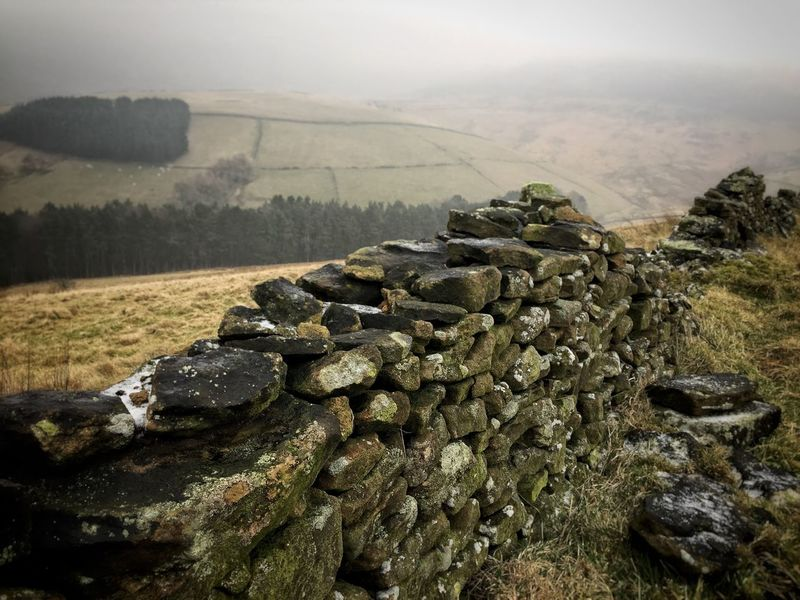 United Kingdom Uk Kinder Scout Hayfield Manchester Glossop Mountain Mountain Range View Up Rock Winter Green Landscape Tranquility Tranquil Scene Nature Sky Scenics Day Beauty In Nature No People Outdoors