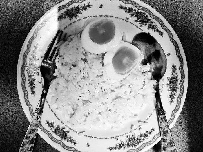 Black And White Black And White Photography Black And White Food Rice And Egg Rice In The Dish Food