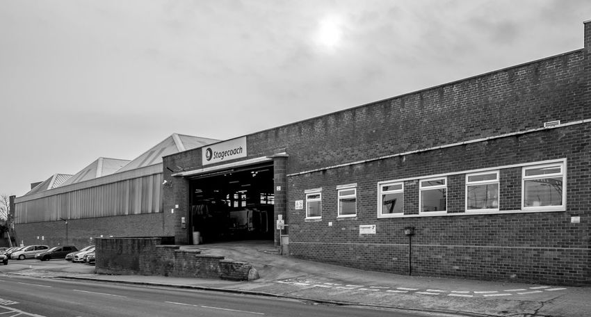 Midland Red bus depot (now Stagecoach Midlands), Railway Terrace, Rugby, Warwickshire Black And White FUJIFILM X-T10 Industrial Landscapes Monochrome Architecture Rugby Rugbytown Warwickshire Bus Depot Bus Station