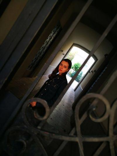Protective Workwear Full Length Standing Portrait Business Finance And Industry Basement Protection Privacy Gate Locked Entry Closed Door Doorknob Door Handle Door Knocker Lock Entryway