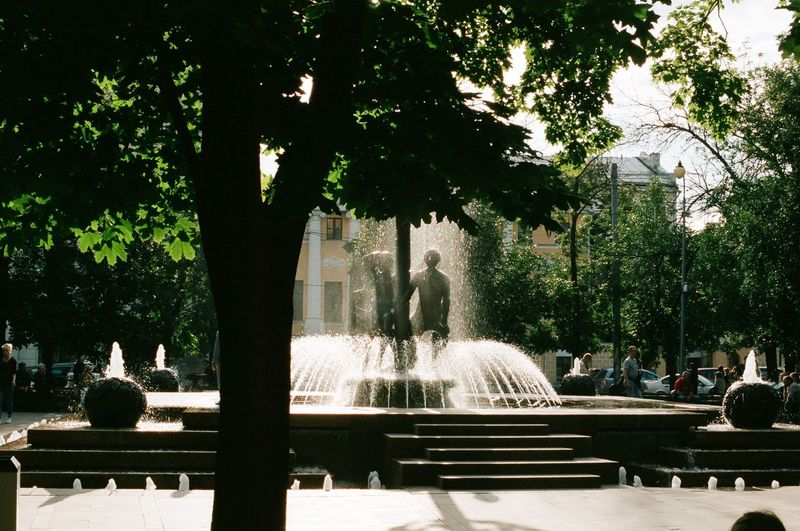 Analogue Film Fountain Moscow Russia Statue Travel Adam And Eve Sculpture