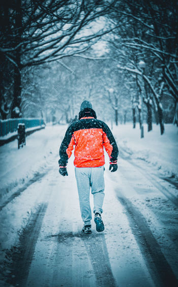 Rear view of person walking in snow