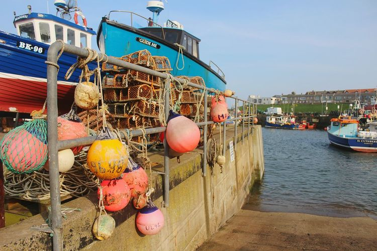 Seahouses, Northumberland, boat, harbour, blue, warm, seaside, Outdoors Day Fishing Net Buoy Nautical Vessel Harbor No People Sky Scenics Moored Clear Sky