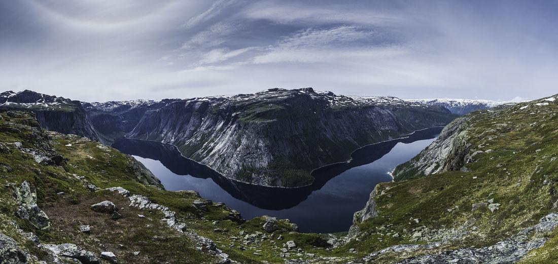 Norway Norge Trolltunga Lake Mountain Hiking Sky And Clouds Hike Panoramic Nikon Nikonphotography Nikon D4 Beauty In Nature Scenics - Nature Sky Non-urban Scene Mountain Range Nature Outdoors Snowcapped Mountain No People Cloud - Sky