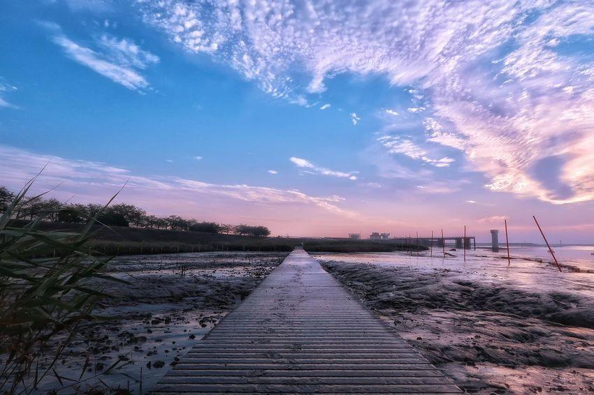 橋 空 雲 リフレクション 朝日 日の出 朝 海 カタ 干潟 有明海 Sky Star - Space サイクリング EyeEm Nature Lover EyeEm Clear Sky Beach Beauty In Nature Cloud - Sky Nature Reflection EyeEm Daily Nature Scenics Morning Sky