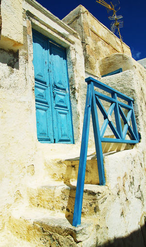 Holidays Architecture Blue Building Exterior Built Structure Close-up Day Greece Low Angle View No People Outdoors Pirgos Santorini Vacation